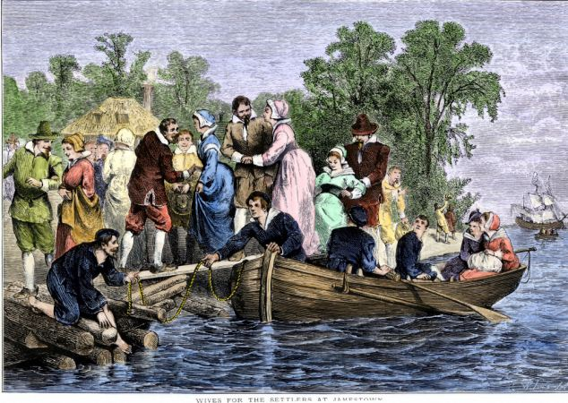AEXKBF Arrival of wives for the settlers at colonial Jamestown Virginia