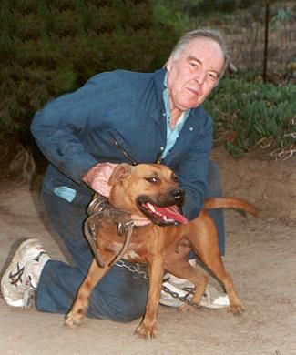 Richard F. Stratton with his American Pitbull Terrier